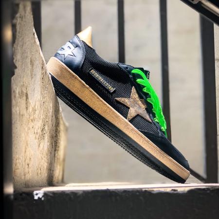 Golden Goose Ballstar Net Upper Leather Sneakers - Black/Green