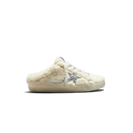 Golden Goose Super-Star Sabot Shearling Sneakers - Natural White/Silver