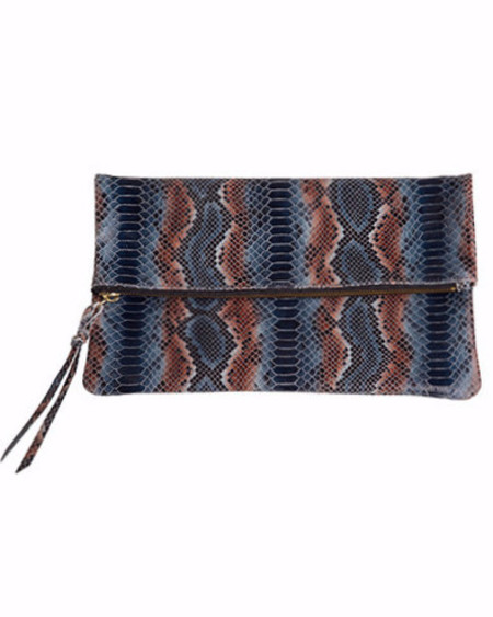 Oliveve anastasia in navy stripe cobra embossed cow leather