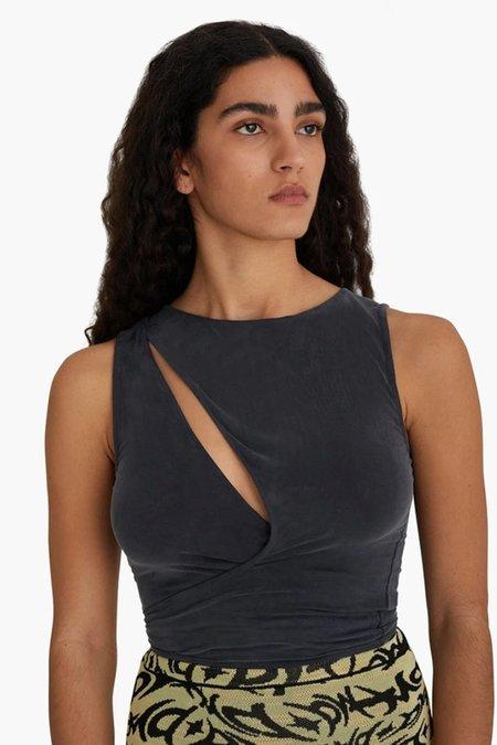 Paloma Wool Name Wrap Top - Weathered Black
