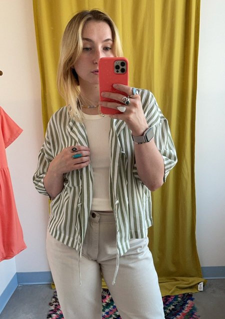Native Youth Striped Tie Front Blouse - green/White