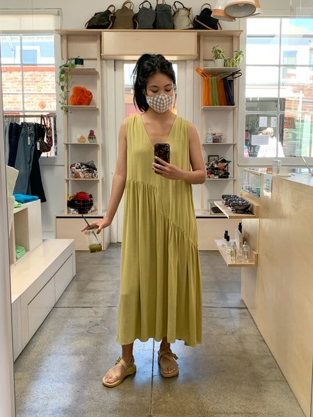 Ali Golden V-neck Dress W/ Gathers - Green Tea