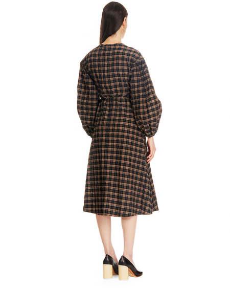 Ganni Seersucker Wallet Dress - Brown/Black Checks