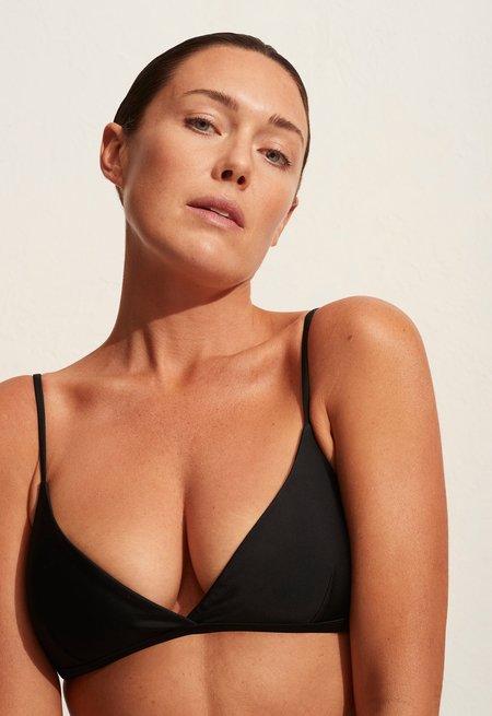 Matteau Tri Bikini Crop Top - Black