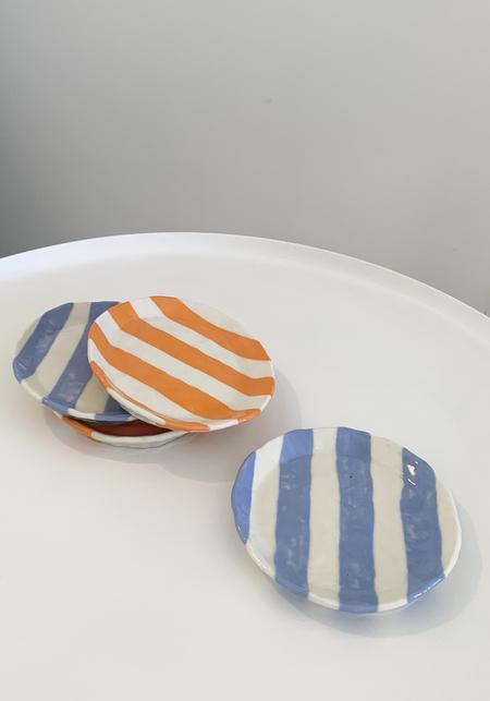 Isabel Halley Ribbon Striped Plate - Orange/Pale Blue