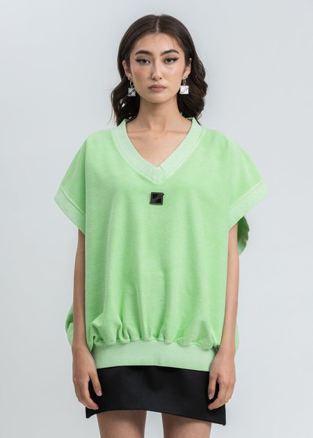 we11done Neon Metal Logo Oversize Vest - Green
