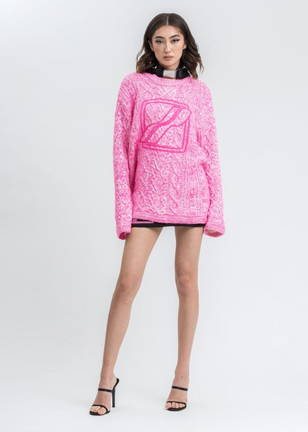 we11done Neon Round Neck Front Logo Cable Pullover - Pink