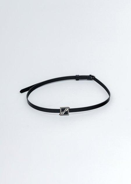 we11done Sliver Patent Mini Buckle Belt - black