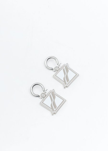 we11done Square Logo Earring - Silver