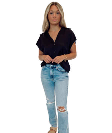VINCE Shaped Collar Cap Sleeve Shirt - Black