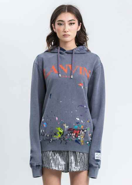 Lanvin Work Effect And Paint Marks Logo Hoodie - Navy