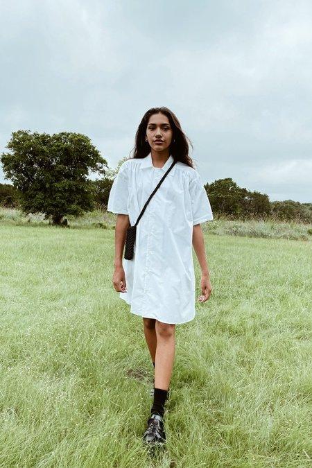 Eternal Shirring Shirts Dress - white
