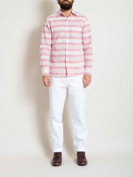 Freemans Sporting Club Point Collar Shirt - Red Stripe