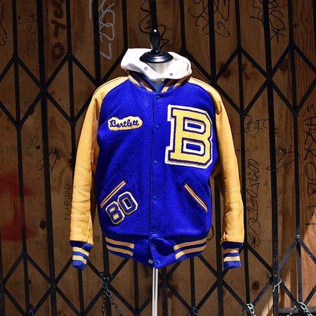 Vintage Tilted Brim 70's Varsity Letterman Jacket - Yellow/Blue