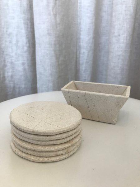 Ri-Ri-Ku Sandstone Coaster Set - White