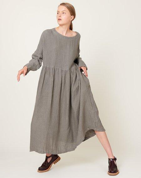 ICHI ANTIQUITES Linen Dobby Azumadaki Dress - Grey