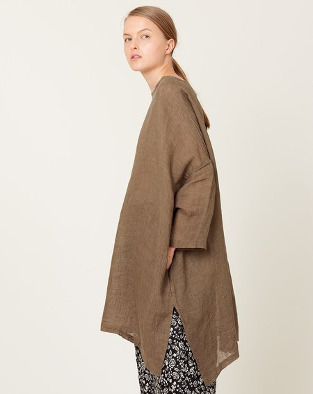 ICHI ANTIQUITES Long Linen Pullover - Olive