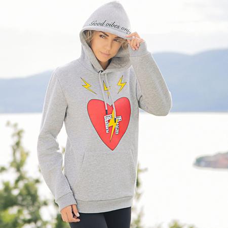 Unisex Fabrice Tardieu Good Vibes Star FT FTHHG Hoodie sweater - Grey