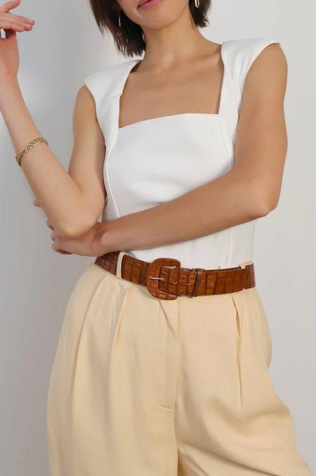 En Saison Shoulder Pad Bodysuit - White