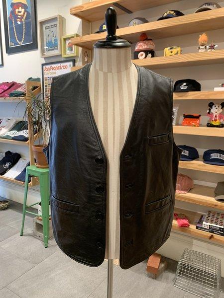 Vintage Tilted Brim 80s - 90s Leather Biker Vest - Black