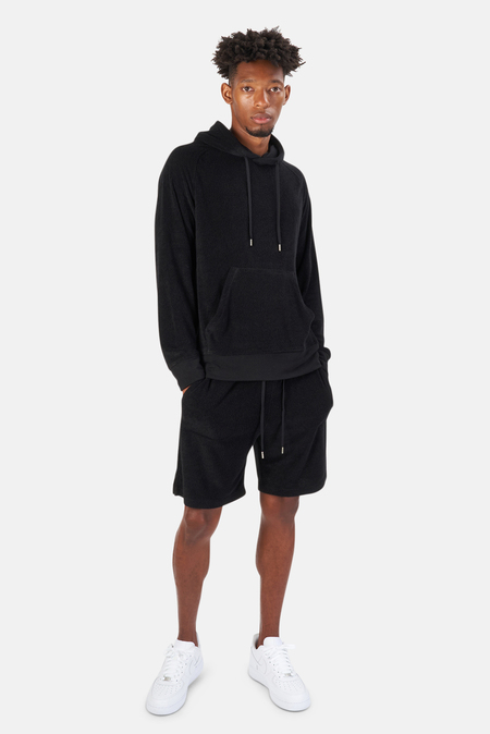 Blue&Cream Poolside Terry Pullover Hoodie Sweater - Black
