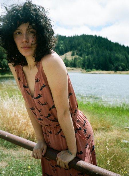 Seek Collective Kim Dress - terracotta swimmers print