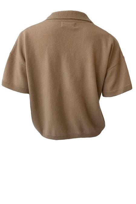 Naadam Cashmere Short Sleeve Zip Polo - Camel