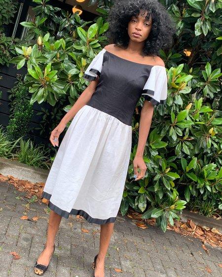 Vintage Linen Flutter Sleeve Dress - white/BLACK
