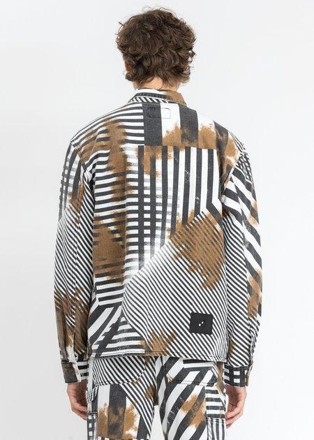 we11done Geometric Shirt Jacket - Black/White