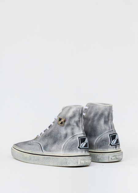 we11done Dirty Square Toe High Top Sneakers - black