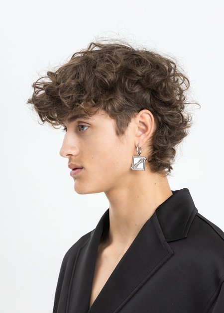 We11done Square Logo Earring -  White