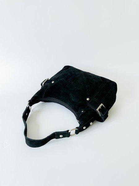 vintage Suede Buckle Purse bag - Black