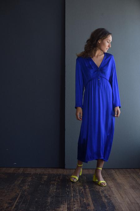 Raquel Allegra Camille Crepe Satin Dress - Cobalt