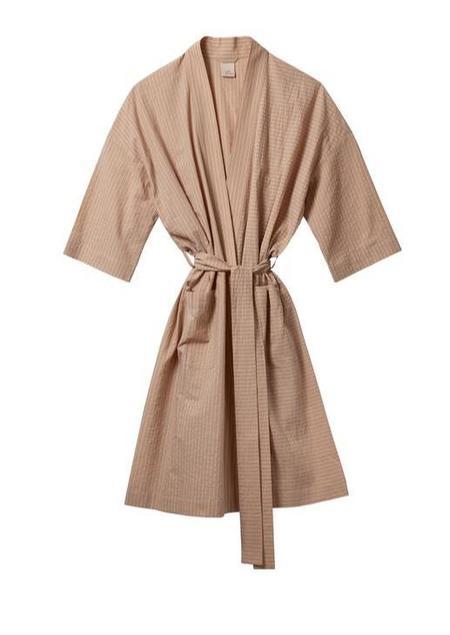In Soft Focus Classic Robe - Tan Stripe