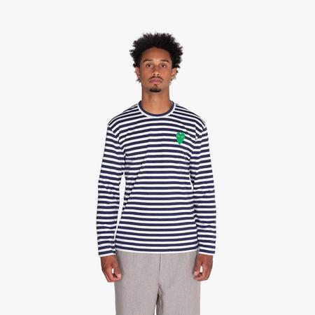 Comme des Garçons Play Green Heart Striped Long Sleeve T-Shirt - Navy/White