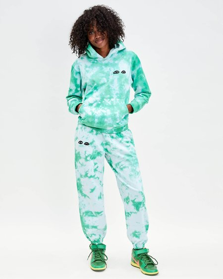 Clare V. Tie-Dye Sweatpants with Eyes - Pale Blue/Green