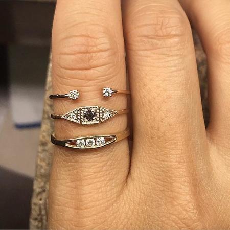 Jennie Kwon Designs White Diamond Float Ring - 14K YG