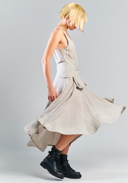 Lurdes Bergada Sleeveless Pocket Belt Detail Viscose and Linen Dress