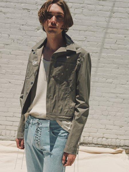 LUDOVIC DE SAINT SERNIN Lace Up Sleeve Vinyl Jacket - Gray