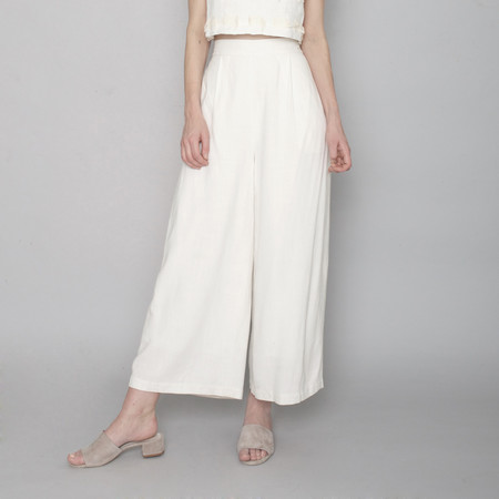 7115 by Szeki Spring Wide-Legged Trouser - Off-White - SS17