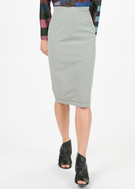 Hache Micro Check Pencil Skirt
