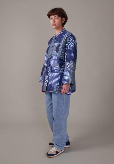 Henrik Vibskov Pipette Quilted Jacket - blue patchwork