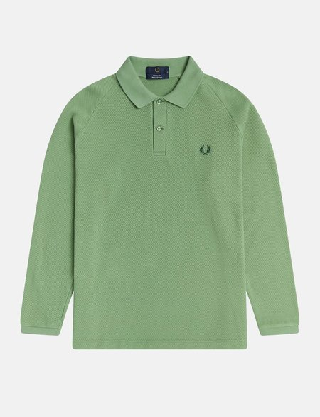 Fred Perry Reissues Long Sleeve Mesh Piqué Polo - Pistachio Green