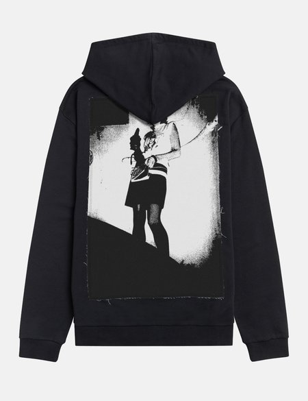 Fred Perry x Raf Simons Pin Details Printed Patch Hoodie - Black