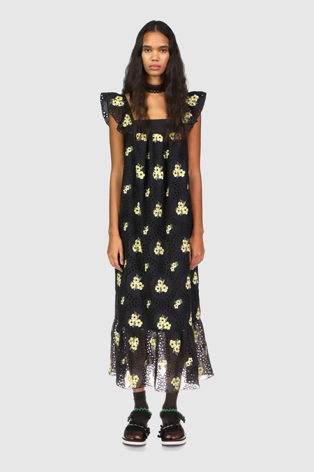Anna Sui Pansy Eyelet Embroidered Sleeveless Dress - Black Multi