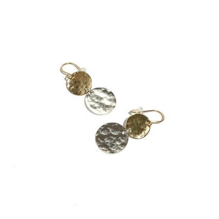 Katye Landry Double Disc Dangle Earrings - Yellow Gold Fill/Sterling Silver