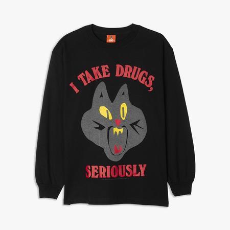 Cold World Frozen Goods Jazz Cat Long Sleeve T-shirt / Black