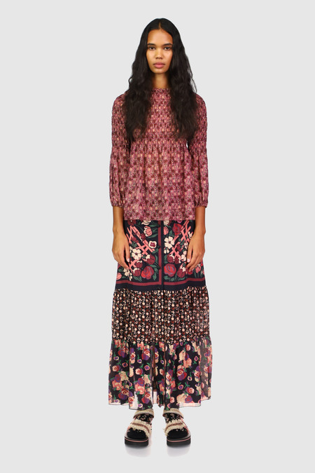Anna Sui Butterfly Meadows Smocked Top - MAUVE MULTI