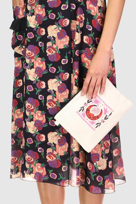 Anna Sui Moon & Stars Pouch - Natural