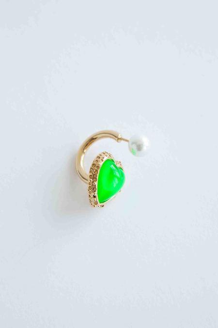 Safsafu Miss Limelight Neon Green Heart Earring - Gold